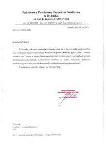 Pismo Państwowego Inspektora Sanitarnego w Rybniku